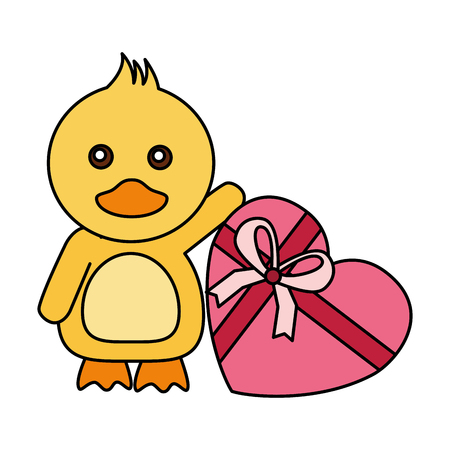 cute duck with gift happy valentines day vector illustration Vetores