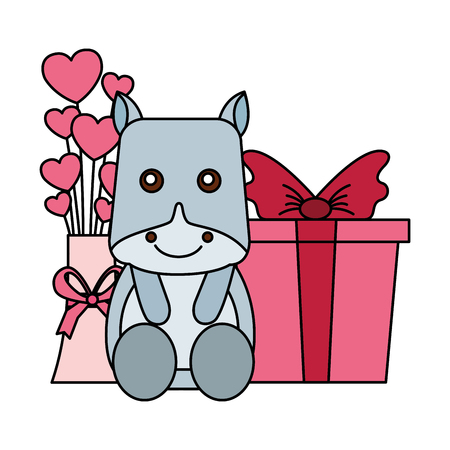 cute hippo gift and flowers hearts gift happy valentines day vector illustration