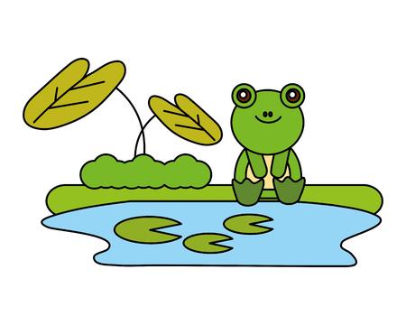 Linda rana sentada en la ilustración de vector de lago