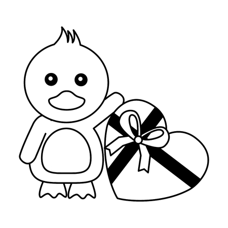 cute duck with gift happy valentines day vector illustration Foto de archivo - 115132246