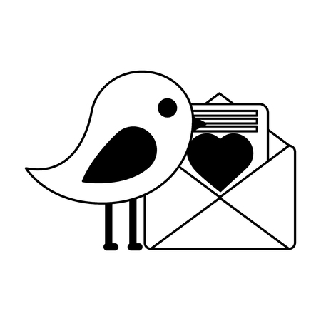bird and mail love happy valentines day vector illustration 向量圖像