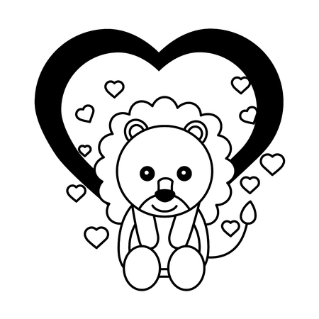 cute lion and hearts love happy valentines day vector illustration Vectores