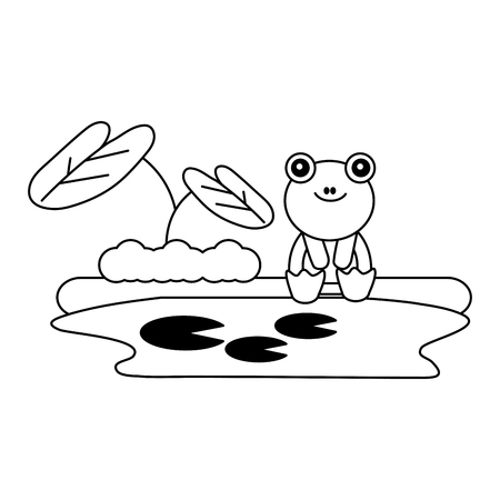 cute frog sitting in the lake vector illustration Zdjęcie Seryjne - 126307403
