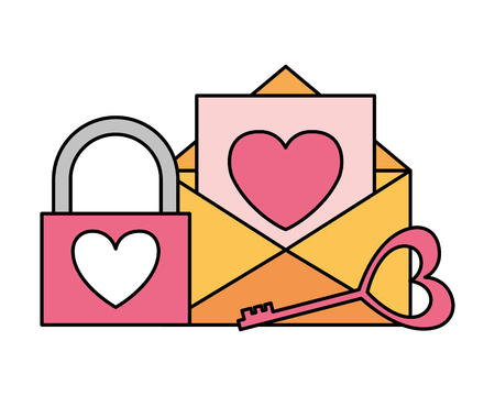 mail padlock key happy valentines day vector illustration  イラスト・ベクター素材