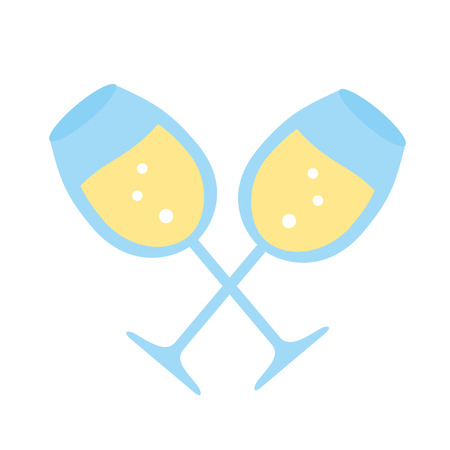 crossed champagne cups on white background vector illustration