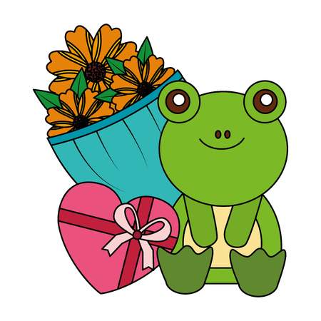 cute frog flowers and gift happy valentines day vector illustration Banque d'images - 126307417