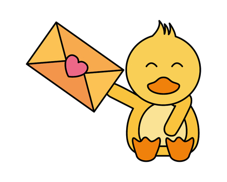 cute duck and mail happy valentines day vector illustration