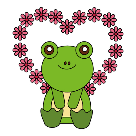 cute frog and flowers shaped heart happy valentines day vector illustration