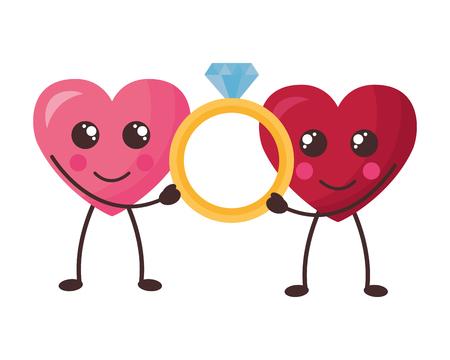 kawaii hearts with ring happy valentines day vector illustration Standard-Bild - 126307438