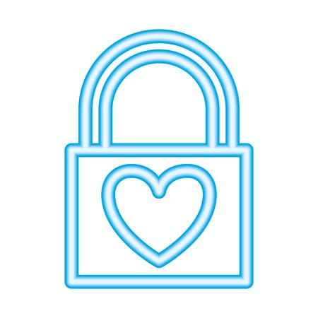 padlock love heart valentine day vector illustration neon Ilustracja