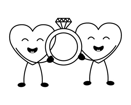 kawaii hearts with ring happy valentines day vector illustration