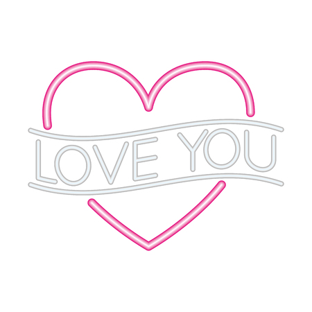 heart love you happy valentines day neon vector illustration