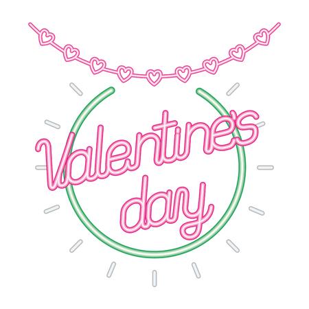heart garland happy valentines day neon vector illustration