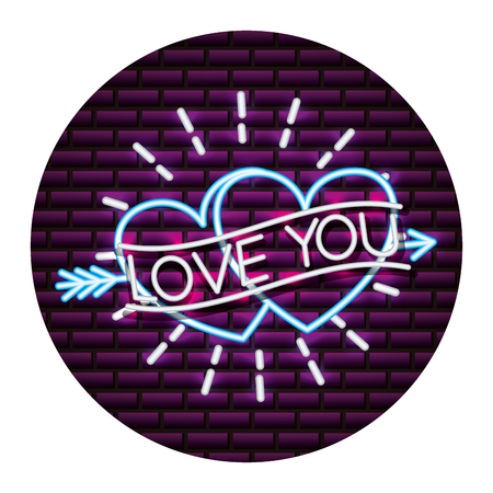 love you hearts happy valentines day neon vector illustration