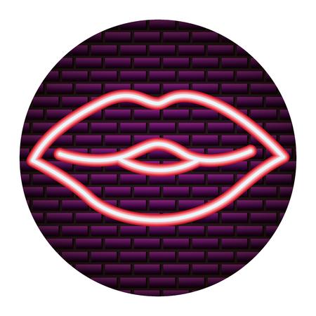 mouth love you happy valentines day neon vector illustration Ilustração
