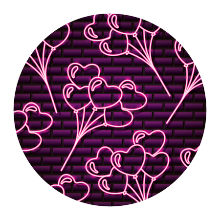 background bunch hearts happy valentines day neon vector illustration