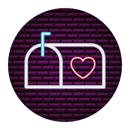 mail box heart happy valentines day neon vector illustration