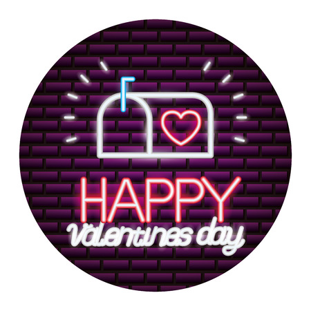 mail box happy valentines day neon vector illustration