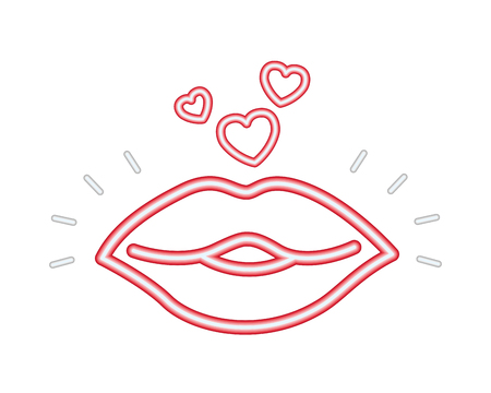 kiss love you happy valentines day neon vector illustration