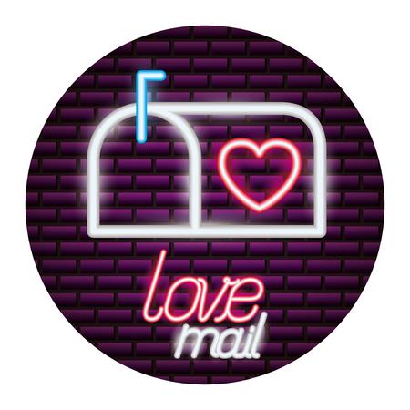 mail box love happy valentines day neon vector illustration