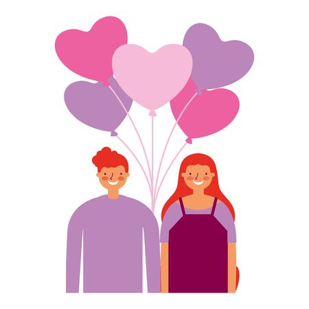 couple hearts balloons love happy valentines day vector illustration Illustration
