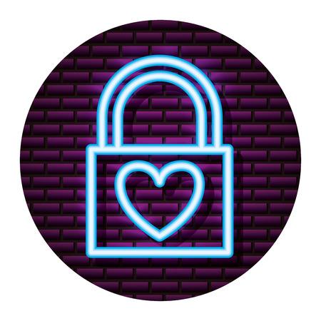 neon padlock love valentine day vector illustration