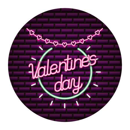happy valentines day neon garland hearts vector illustration