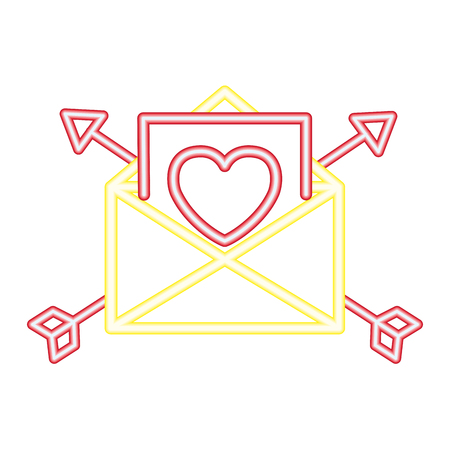 love mail happy valentines day neon vector illustration