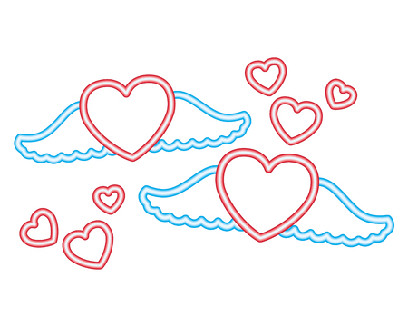 heart wings love romantic valentine day vector illustration neon 일러스트