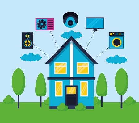 mobile controller technology smart home vector illustration
