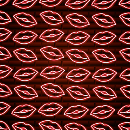 mouth kisses happy valentines day neon vector illustration