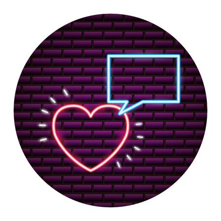 valentine day neon speech bubble heart love vector illustration neon Illustration