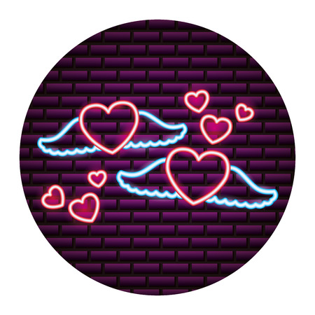 heart wings love romantic valentine day vector illustration neon 向量圖像