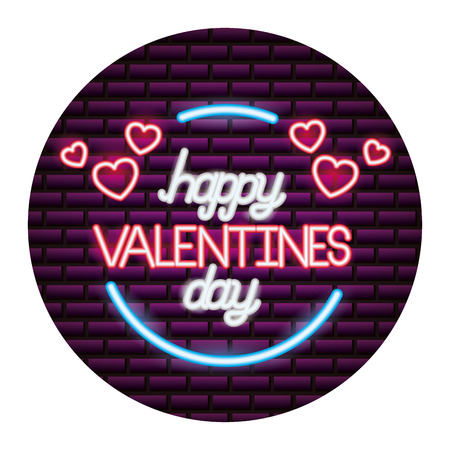 happy valentines day neon wall brick vector illustration