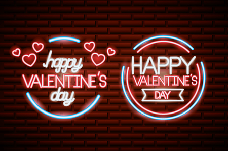 happy valentines day neon badges wall vector illustration