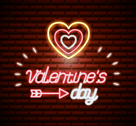 hearts wall happy valentines day neon vector illustration