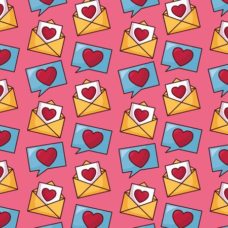 mail envelopes speech bubble happy valentines day vector illustration