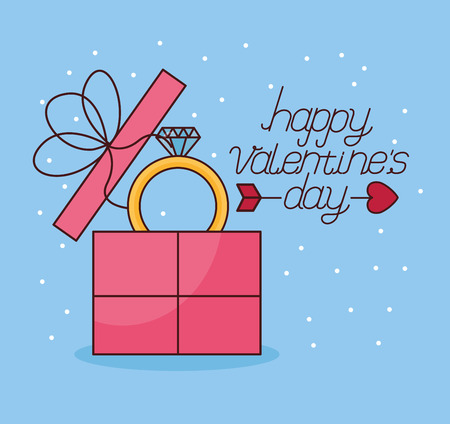 gift box with ring happy valentines day vector illustration