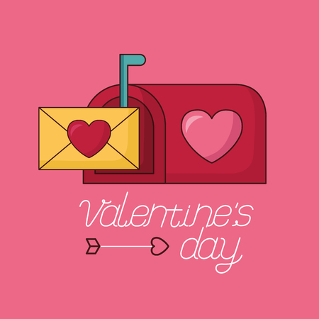 mail box message envelope happy valentines day vector illustration Фото со стока - 115153335