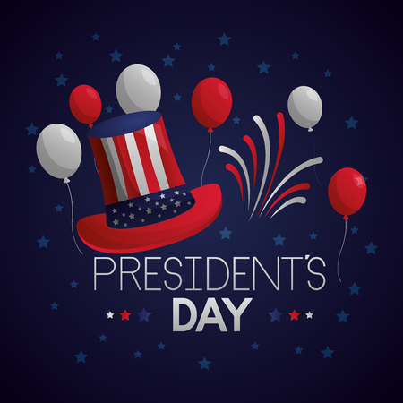 happy presidents day hat balloons fireworks vector illustration Reklamní fotografie - 126308841