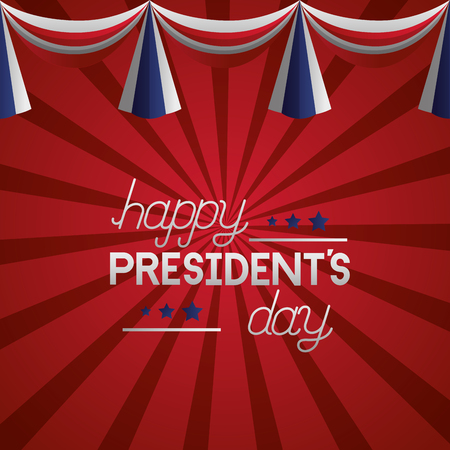 happy presidents day garland decoration red background vector illustration