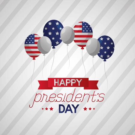 Feliz día de los presidentes banner globos bandera americana ilustración vectorial Ilustración de vector