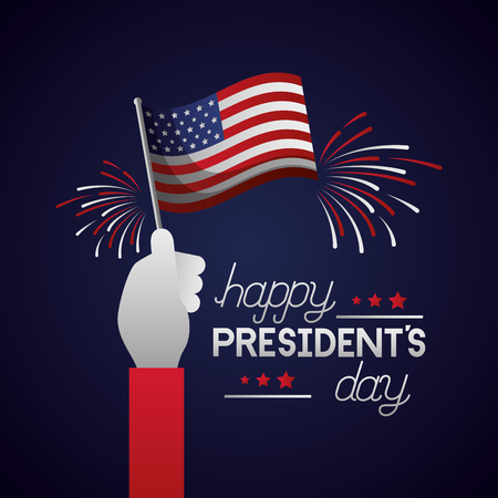 hand with flag american happy presidents day vector illustration Reklamní fotografie - 126308848