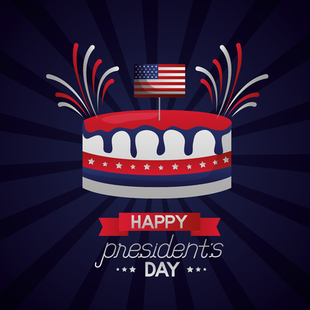 cake fireworks celebration happy presidents day vector illustration