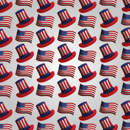 hat and american flag background presidents day vector illustration