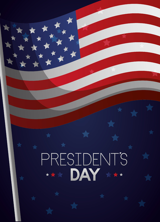 american flag waving happy presidents day vector illustration