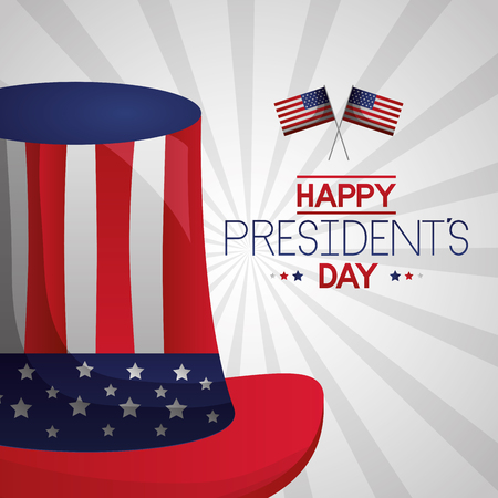 hat and american flags happy presidents day vector illustration Ilustrace