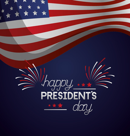 american flag and fireworks happy presidents day vector illustration