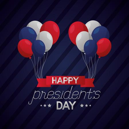 balloons banner happy presidents day vector illustration