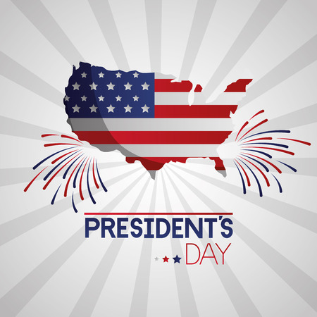 american map flag fireworks happy presidents day vector illustration